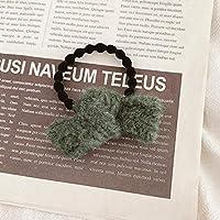12ピースヘアシュシュエラスティックヘアロープヘアタイヘアリングソフトポニーテールホルダー女性用ヘアバンドガールズヘアアクセサリー-エンドウ豆の緑色