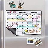 Homein Calendario mensual magnético, Lavable, Calendario mensual, para frigorífico, Pizarra magnética, Lista de la Compra en Cocina, Pizarra para niños, 43 x 30 cm