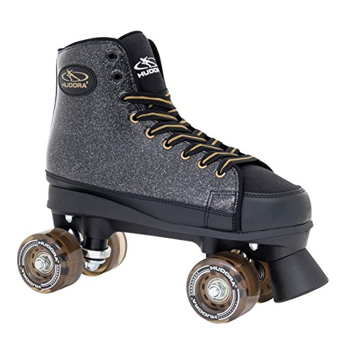 HUDORA Rollschuhe Roller-Skates Black Glamour, Disco-Roller, Gr. 36, 13090