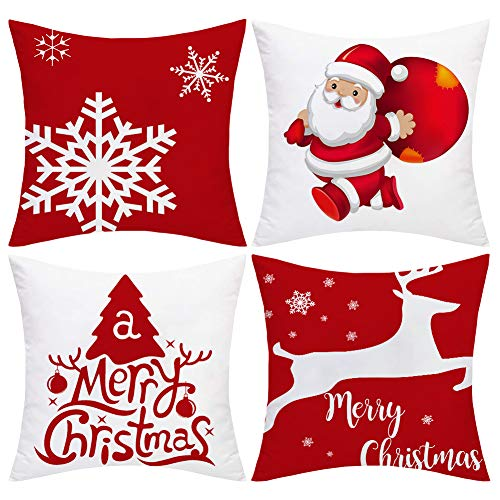 Weihnachts-Kissenbezüge, Weihnachtsmotiv, Samt, 45,7 x 45,7 cm, Schneeflocke, Rentier, Weihnachtsmann, Kissen für Sofa, Bett und Auto, tolle Heimdekoration für Weihnachten (rot und weiß)