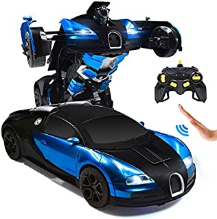 Ursulan RC Cars Robot for Kids Remote Control Car Transformrobot Toys for Boys Girls Age of 6,7,8-16 Year Old Gifts One Button Transforms into Robot with LED Light Intelligent Vehicle (Blue)