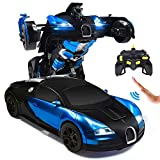 RC Cars Robot for Kids Remote Control Car Transformrobot Toys for Boys Girls Age of 6,7,8-16 Year Old Gifts One Button Transforms into Robot with LED Light Intelligent Vehicle (Blue)