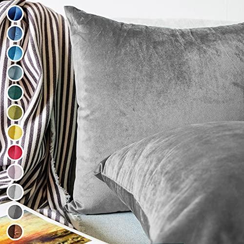 Lionmood  Juego de 2 fundas de cojín   terciopelo de un solo color   45 x 45 cm   funda de cojín de sofá decorativa funda de cojín de sofá (04 gris)
