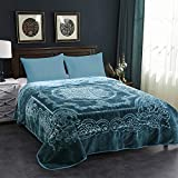JML Fleece Blanket King Size, Heavy Korean Mink Blanket 85 X 95 Inches- 9 Lbs, Single Ply, Soft and Warm, Thick Raschel Printed Mink Blanket for Autumn,Winter,Bed,Home,Gifts, (Teal)
