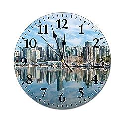 Promini Fashion PVC Wall Clock Scenery of Vancouver Canada Silent Non-Ticking Wall Clock Custom PVC Clock Decorative Clock color3 25cm/9.84in