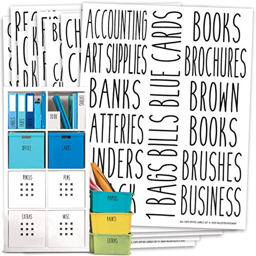 Talented Kitchen Office Labels – 138 Office, Crafts, School Supplies Names – Organization Label Sticker, Water Resistant Craft Labels for Bins, Baskets, Folders. Work Office Organization and Storage