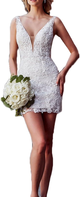 Jdress Women's Beach 2 Piece Wedding Dresses with Detachable Train Lace Bridal Gown 2018