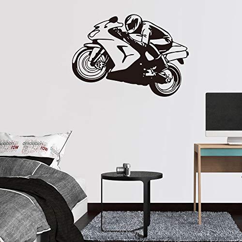 FPUYB Motorrad Rennfahrer Home Decor Wandaufkleber Kinderzimmer für Kinderzimmer Wohnzimmer Cartoon Vinyl Wandtattoos 58cmx41cm