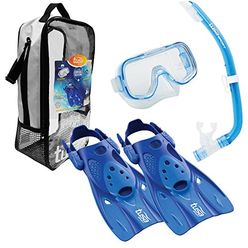 TUSA Sport Youth Mini-Kleio Hyperdry Mask, Snorkel, Fin Travel Set, Blue, Small