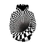 YPDWYJL Jersey 3D en Blanco y Negro túnel geométrico Moda Deportiva Sudadera con Capucha otoño e Invierno Estudiante Casual Pareja suéter