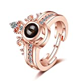 Inf-way I Love You 2-in-1 Open Ring, 100 Languages Projection on Round Onyx Pendant Loving Memory Rings (Crown Gold)