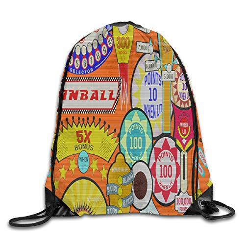 show best Cartoon Pinball Orange Drawstring Gym Bag for Women and Men Polyester Gym Sack String Backpack for Sport Workout, School, Travel, Books 14.17 X 16.9 inch