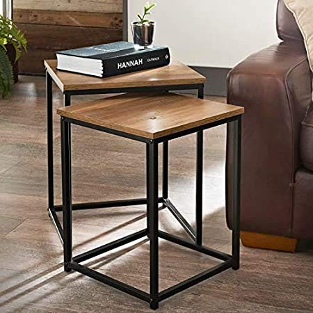A2Z Home Solutions Wonderful Feature Set of 2 Wooden Top Nest of Tables With Black Metal Frame Coffee/Side/Center Tables Living Room