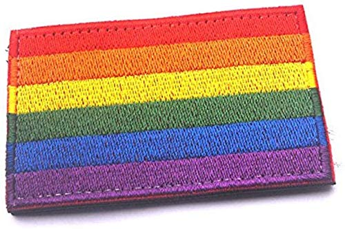 LGBT Patch Rainbow Flag Gay Lesbian Emblem Hook and Loop Fastener for Backpacks Caps Hats (Size: 3.14'x1.96')