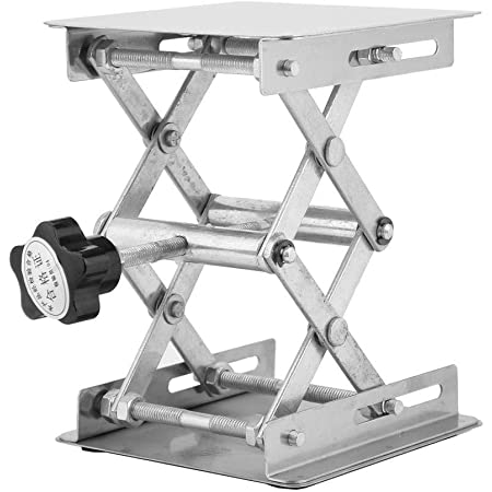 CALIDAKA Lifting Platform Lift Scissor Rack 90x83mm Level Accessories Universal for Science Experiment Adjustable Aluminum Alloy Laboratory Professional Lab Stand Stable Measure Tool Table