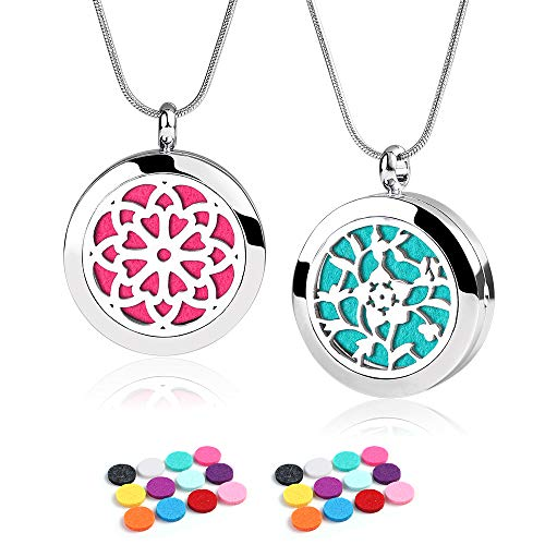 Aromatherapy Essential Oil Diffuser Necklace - ttstar 2pcs Stainess Steel Pendant Locket Diffuser Necklace with 24 Refill Pads for Women, Girlfriend, Mom Birthday Gift