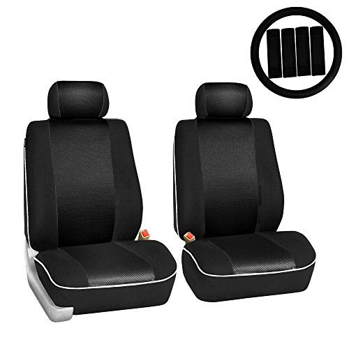 FH Group FH-FB063102 Pair Set Sports Fabric Car Seat Covers, Airbag Compatible and Split Bench W. FH2033 Steering Wheel Cover and Seat Belt Pads, Gray/Black Color- Fit Most Car, Truck, SUV, or Van