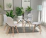 H.J WeDoo Esszimmergruppe Moderner Glastisch Rund Esstisch mit 4 Stühlen Geeignet für Esszimmer Küche Wohnzimmer, Transparent & Weiß