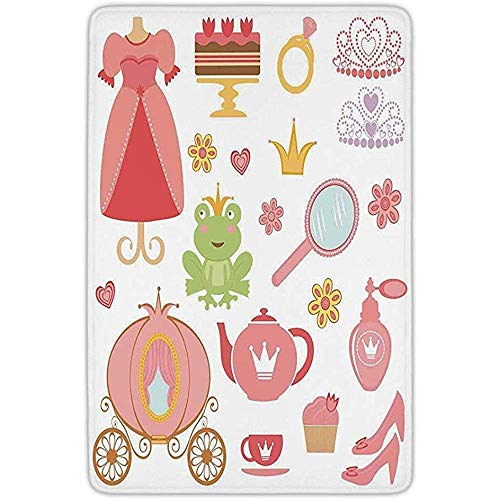 Alfombra Entrada,Decoración para Niños Princess Tiara Tea Party Espejo Tetera Tea Party...