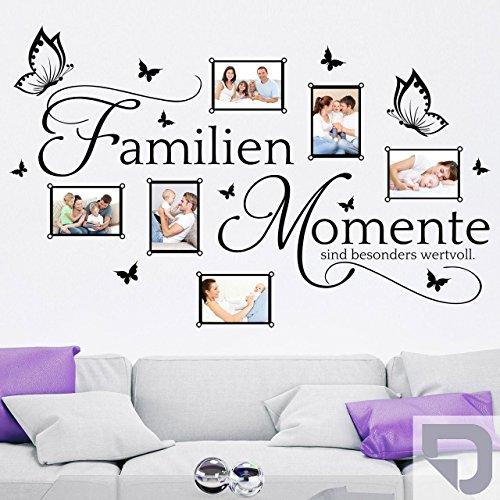 DESIGNSCAPE® Wandtattoo Bilderrahmen Familien Momente sind besonders wertvoll - mit 6 Fotorahmen 95 x 60 cm (Breite x Höhe) silber DW807272-S-F25