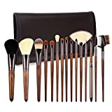 ZOREYA Makeup Brush Sets,15pcs Unique Walnut Makeup Brushes with Nobility,Professional Premium Synthetic Foundation Powder Concealers Eye Shadows Makeup brushes Set with Perfect Vegan Leather Bag