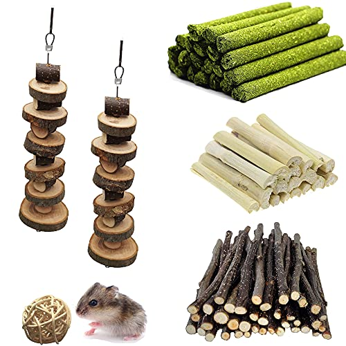 ZLLOO Juguetes para Masticar Hámster Natural Palitos de Manzana para los Conejos, Chinchilla, Hámsters, Cobayas