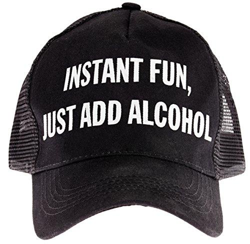 "Snark City Trucker Cap Hat Adjustable ""Instant Fun, Just Add Alcohol"" Black, White"