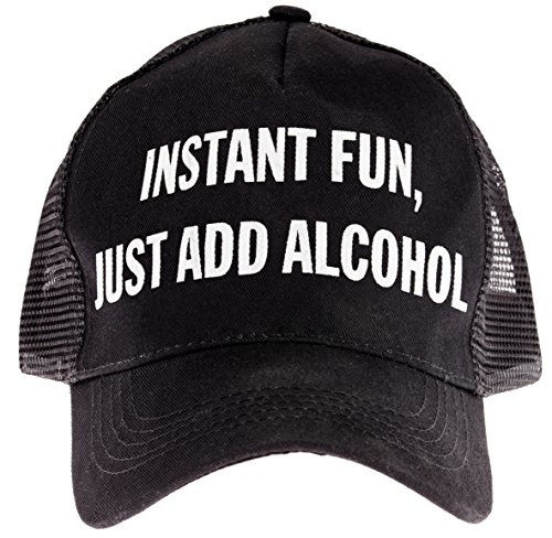 "Snark City Trucker Cap Hat Adjustable ""Instant Fun, Just Add Alcohol"" Black, White"