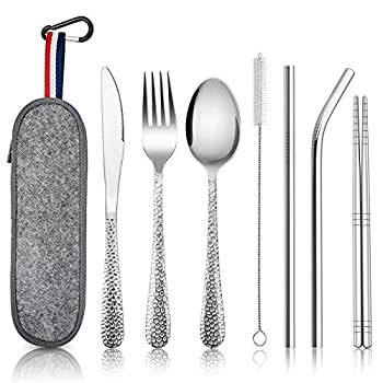 Reusable Portable Utensils E-far 8-Piece Hammered Travel Silverware Set with Case Stainless Steel Camping Cutlery Flatware Including Knife/Fork/Spoon/Chopsticks/Straws/Cleaning Brush  Dark Grey