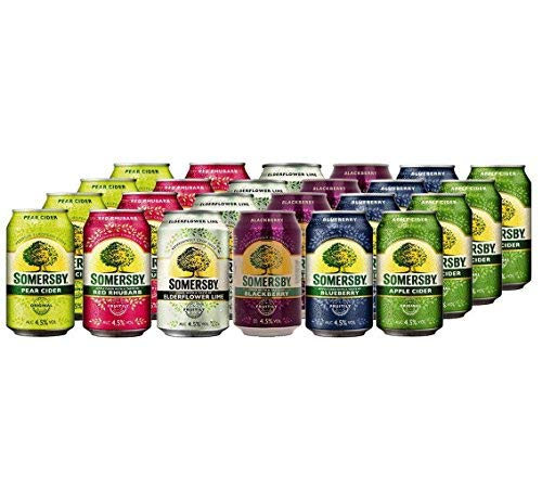 Somersby Cider MEGA MIX Pear, Red Rhubarb, Blackberry, Elderflower Lime, Blueberry und Apple 4,5% Vol. (24 x 0.33 l)
