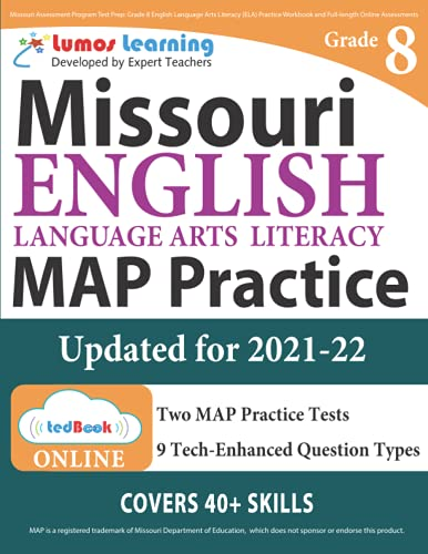 Missouri Assessment Program Test Prep Grade 8 English Language Arts Literacy Ela Practice Workbook And Full Length