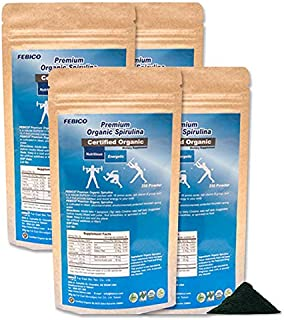 FEBICO Organic Spirulina Powder 1kg Bundle: Enriched Vitamin B12 Complex