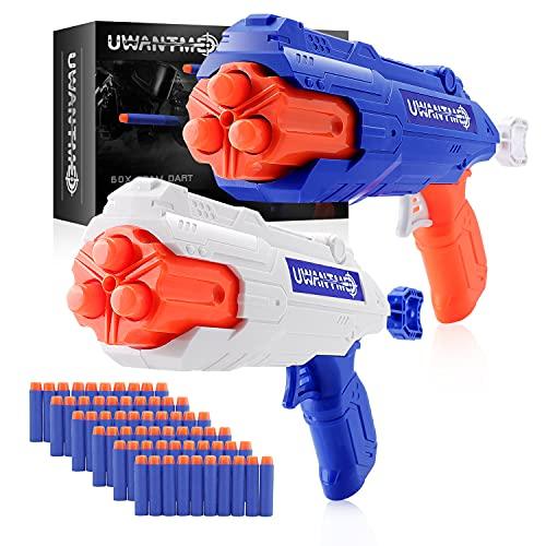 UWANTME 2er Set Spielzeug Pistole für Nerf Gun Spiele, Blaster Pistole mit 60 Schaumstoffpfeilen, Schießspielzeug für Kinder, Geburtstagsgeschenk für Jungen und Mädchen