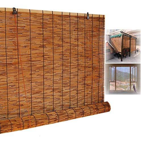 ZDDY Natürliche Bambusschirme für Fenster, Rollläden für den Außenbereich Römische Reed-Vorhänge mit Hebebühne, Sonnenschutz/wasserdicht/Wärmeisolierung, für Innenräume, Terrassen, Gärten.