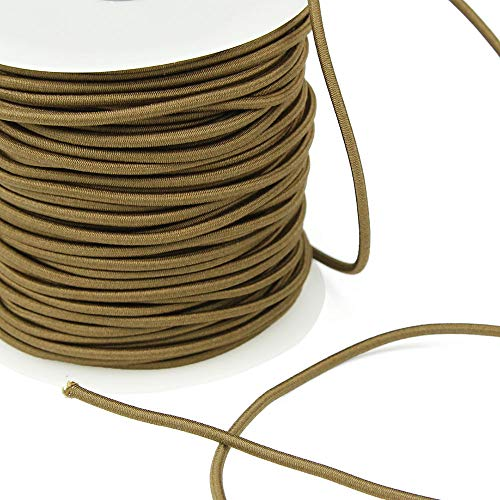 3 Yards of REILLY 3mm Round Elastic Cord, Clove Brown