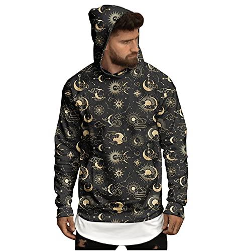 Sudaderas de Halloween con capucha para hombre, diseño de luna, 3D, manga larga, para disfraz de fiesta, novedad, dorado, XXL