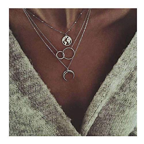 Edary - Collana a strati, stile boho, con ciondolo a forma di luna, in argento, per donne e ragazze