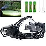 LED Rechargeable Headlamp for Adults,10000 Lumens Outdoor Led Head Lamps Flashlights, Headlights with Batteries Included, Zoomable, 3 Modes, Waterproof, Red Warn Light for Hunting/Running