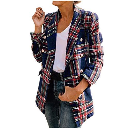 Manteau Femme Hiver Chic à Carreaux Chaud Laine Bouillie Manteaux Mode Chic Élégant Tempérament Blazer Laine Chaude Lâche Veste de Tailleur Soirée Blouson Costume Business Manteau