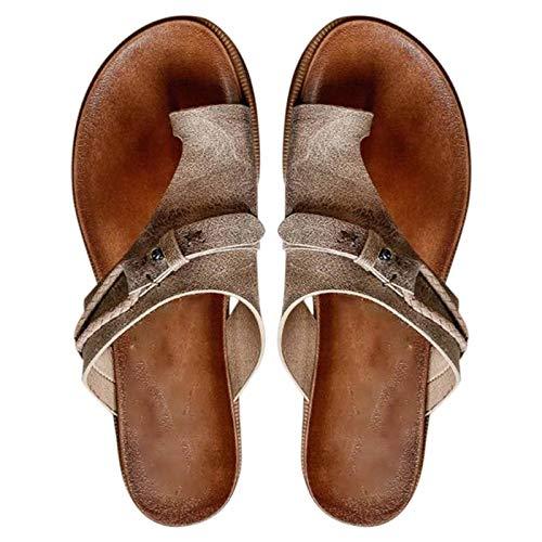 Dingyue Sandalias Carina para mujer con puntera abierta, sandalias de tacón plano con suela EVA