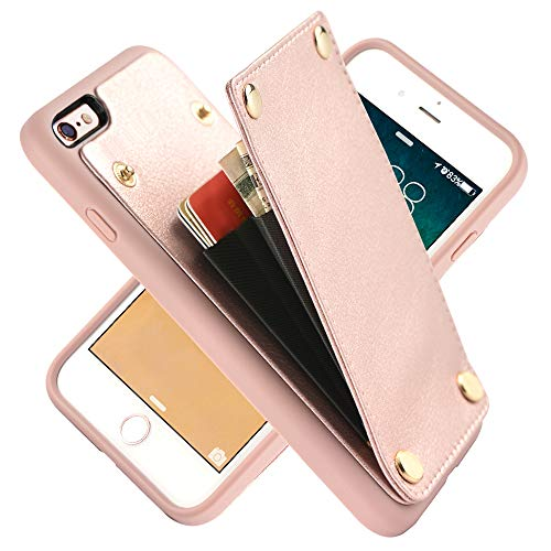 LAMEEKU iPhone 6s Case, iPhone 6 Wallet Case, Shockproof iPhone 6 Card Holder Case Credit Card Slot, Protective Cover Compatible for iPhone 6 / 6s - Rose Gold