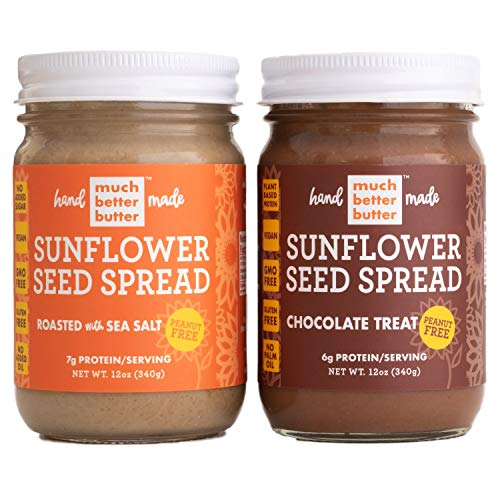Sunflower Seed Butter   Healthy Delicious Natural Sunflower Seed Spread Made with Gluten Free Vegan Ingredients   Roasted with Sea Salt   Chocolate Treat   12 oz Glass Jars   2 pack