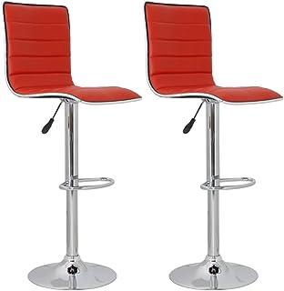 vidaXL (Set de 2 taburetes de bar en cuero rojo y con respaldo alto