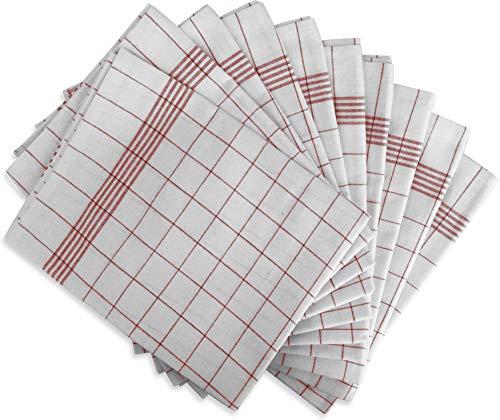 normani 10 x Geschirrhandtücher Halbleinen in verschiedenen Ausführungen wählbar Farbe Rot-Kariert Größe 55 x 75 cm