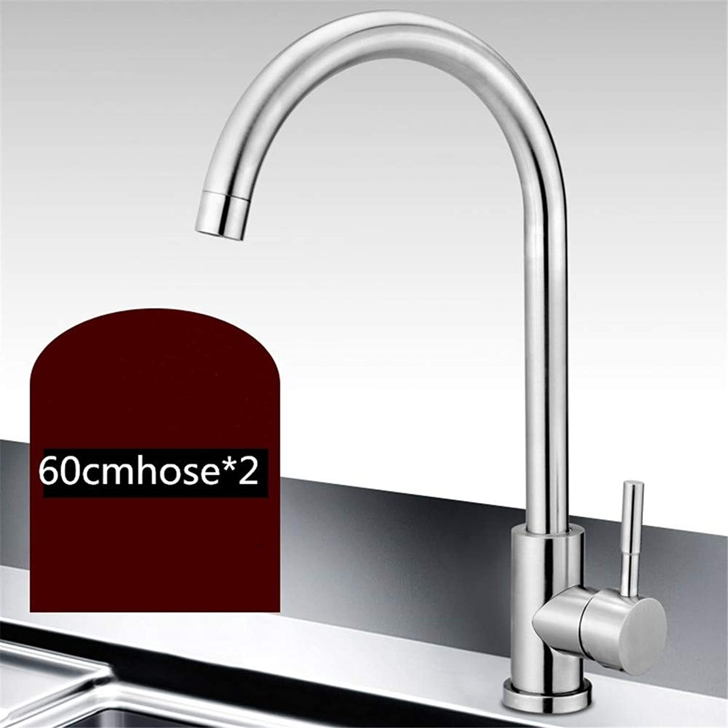 Kitchen Faucet Household Sink Faucet hot and Cold Sink Single Cold Copper wash Basin 304 Stainless Steel redation,Stainless Steel,A