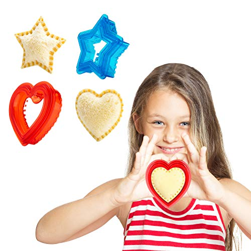 Sandwich Cutter and Sealer for Kids - Heart Shape Cookie Cutter & Star Shape Decruster Sandwich Maker, 6 PCS (2 Sets)