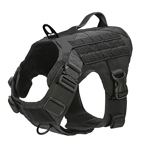 MXSLEUT Tactical Dog Harness with Handle Working Service Dog Vest with Front Clip Leash Comfortable Military k9 Harness (L, Black)
