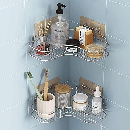 BUCULTD Estante del Organizador de baño de 2 Pack con Adhesivo, Estante del Soporte para el acondicionador de champú, baño y Cocina, ángulo Recto de 90 Grados sin taladrado de Ducha (Color : Plata)