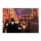 WENYOG Cuadro En Lienzo Edvard Munch Carl John Street en la Noche Pintura al óleo Abstracta en Lienzo Pósteres y Impresiones Arte de la Pared Foto para la decoración de la Sala de Estar