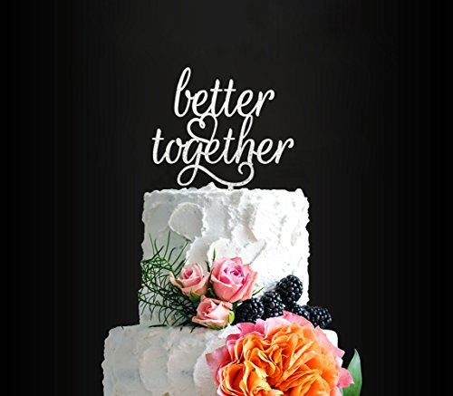 Glitter Silver Better Together Romantic Wedding Cake Topper, Elegant Cake Topper For Wedding Anniversary, Wedding Party Decorative Cake Toppers, Birthday Cake Topper Acrylic Cake Topper